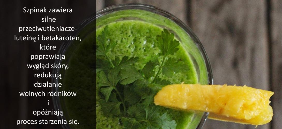 u9-1 Zielony koktajl ze szpinakiem, bananem,  jabłkiem, pomarańczą, cytryną i imbirem